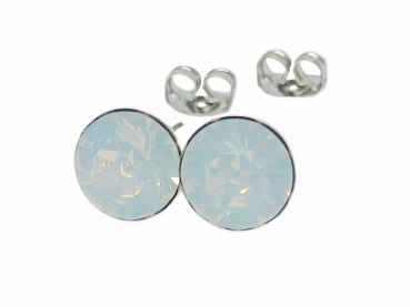 Ohrstecker 6 mm White Opal
