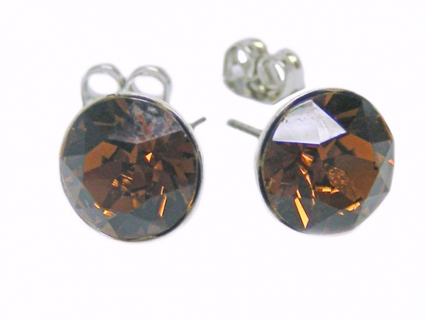 Ohrstecker 6 mm Smoked Topaz